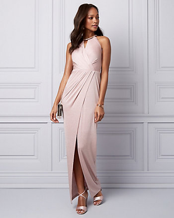 Sparkle Knit Wrap-Like Gown