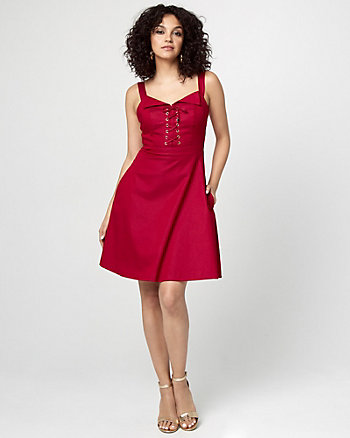 Dressy Denim Lace-Up Neck Midi Dress