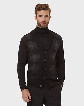 Check Print Cotton Shawl Collar Cardigan