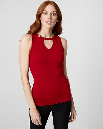 Viscose Blend Cutout Sweater Tank