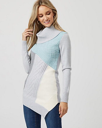 Colour Block Knit Cowl Neck Sweater