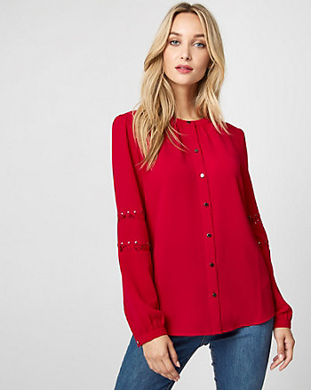 Lace & Crêpe de Chine Button-Front Blouse