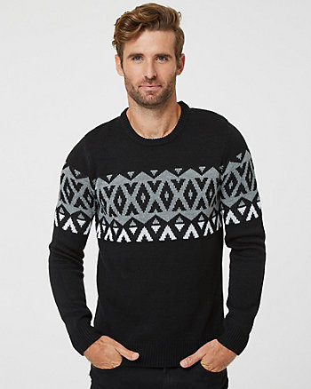 Tonal Fair Isle Crew Neck Sweater