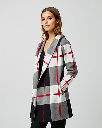 Check Print Brushed Viscose Sweater Coat