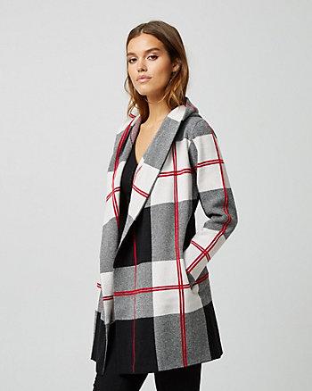 Check Print Brushed Viscose Sweater Coat