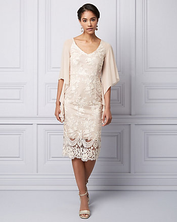 Sequin & Lace V-Neck Cape Gown