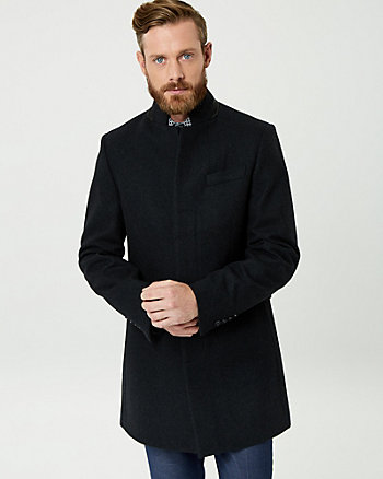 Melton Wool Blend Mock Neck Topcoat