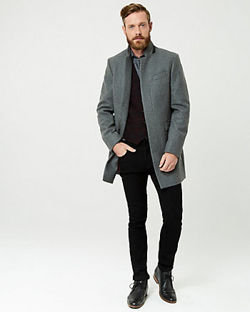 Melton Wool Blend Mock Neck Top Coat