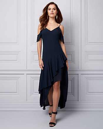 Chiffon Cold Shoulder Ruffle Dress