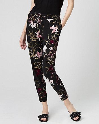 Floral Print Challis Drawstring Track Pant