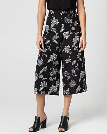 Floral Print Crêpe Wide Leg Pant