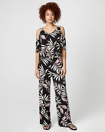 Tropical Print Challis Wide Leg Pant