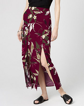 Floral Print Challis Maxi Skirt