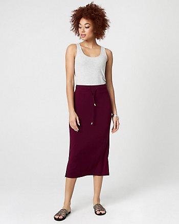 Jersey Drawstring Midi Skirt