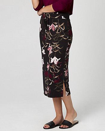 Floral Print Jersey Drawstring Midi Skirt