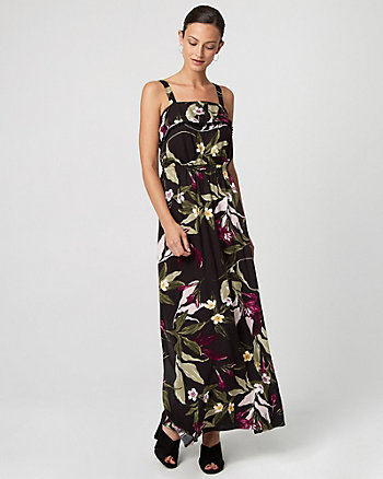 Tropical Print Challis Maxi Dress