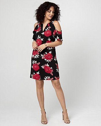 Floral Print Cold Shoulder Ruffle Dress