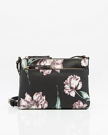 Floral Print Leather-Like Crossbody Bag