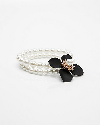 Floral & Pearl-Like Gem Stretch Bracelet