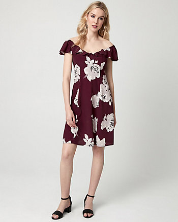 Floral Print Viscose Off-the-Shoulder Dress
