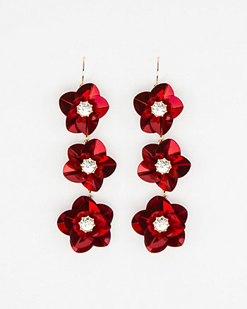 Floral Gem Linear-Drop Earrings