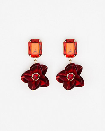 Floral Gem Drop Earrings