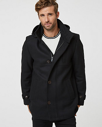 Melton Wool Blend Mock Neck Car Coat