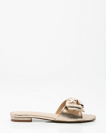 Knotted Metallic Foil Slide Sandal