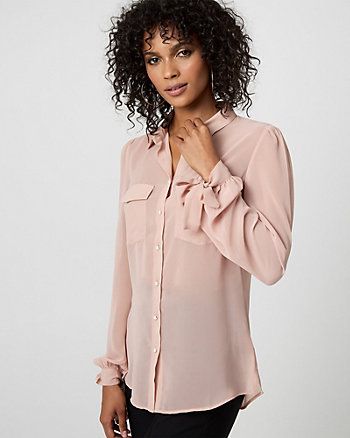 Pearl Embellished Button-Front Blouse