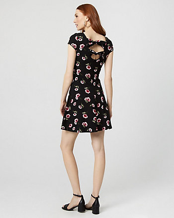 Floral Print Cotton Blend Open Back Dress