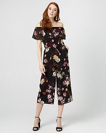 Floral Off-the-Shoulder Culotte Jumpsuit