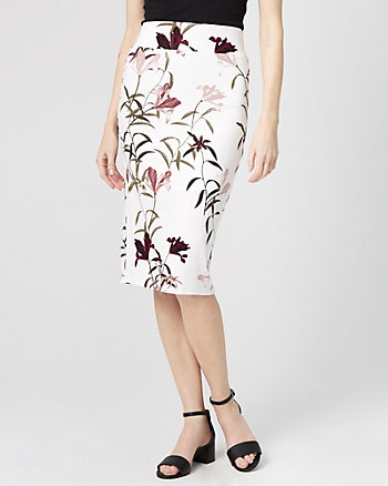 Floral Print Jersey Pencil Skirt