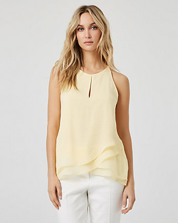 Chiffon Halter Neck Sleeveless Blouse