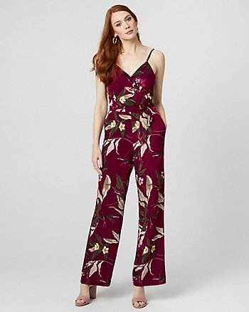 a16692413201 Floral Print Wide Leg Jumpsuit