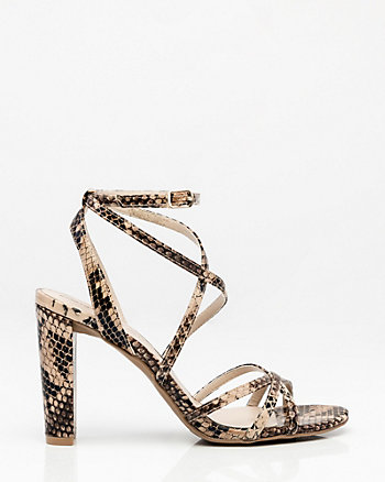 Snake Embossed Strappy Sandal