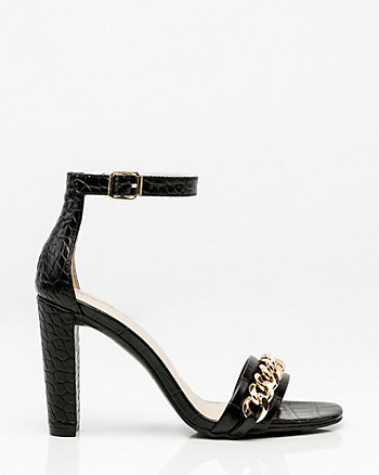 Croco Chain Link Ankle Strap Sandal