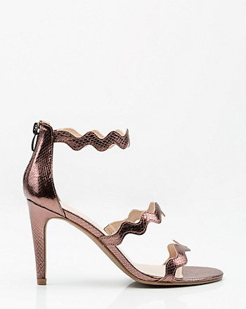 Metallic Snake Embossed Triple Strap Sandal