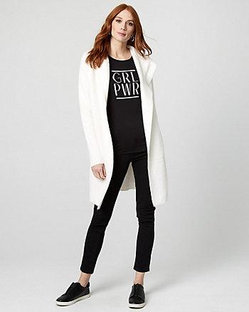 Hooded Brushed Viscose Sweater Coat