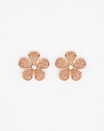 Floral Glitter Stud Earrings