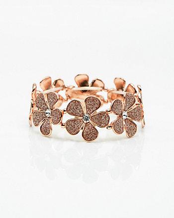 Floral Glitter Stretch Bracelet