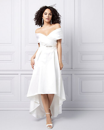 Satin Off-the-Shoulder High-Low Dress