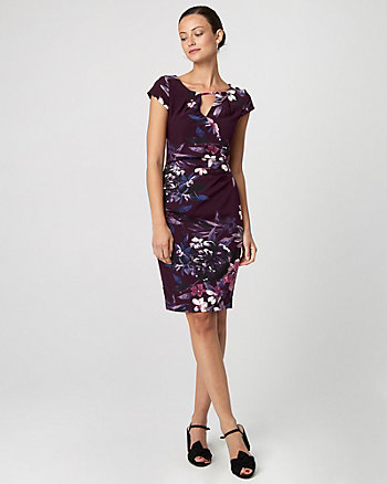 Floral Print Gabardine Sheath Dress