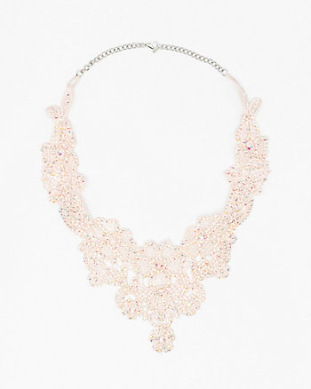 Jewel Embellished Lace Bib Necklace