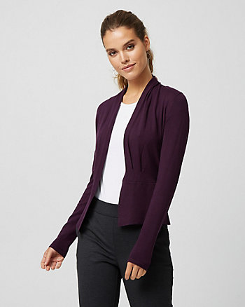 Pleated Viscose Blend Open-front Cardigan