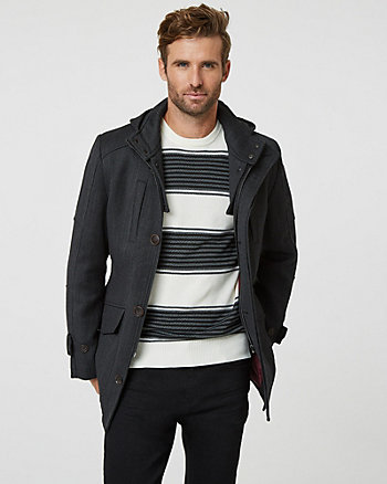Wool Twill Hooded Car Coat