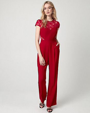 Lace & Crêpe Illusion Jumpsuit