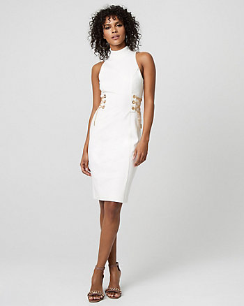 Lace-Up Double Weave Mock Neck Dress