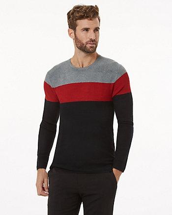 Stripe Viscose Blend Crew Neck Sweater
