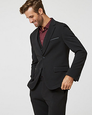 Quilted Knit Notch Collar Blazer