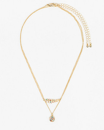 Gem Feather & Circle Layered Necklace